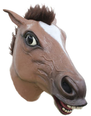 Máscara de cavalo louco castanho para adulto