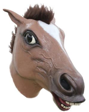 Maschera da cavallo pazzo marrone per adulto