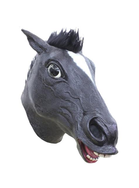 Máscara de cavalo louco preto para adulto
