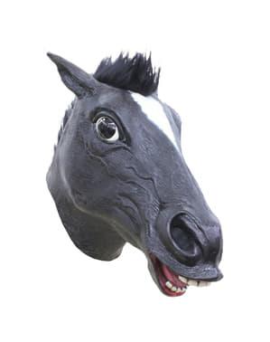 Verrückte Pferde Maske schwarz für Erwachsene