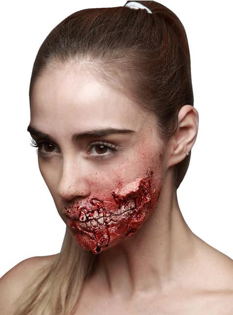 Prótesis de látex mandíbula desgarrada