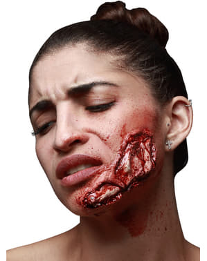 Prótese em látex mandíbula exposta
