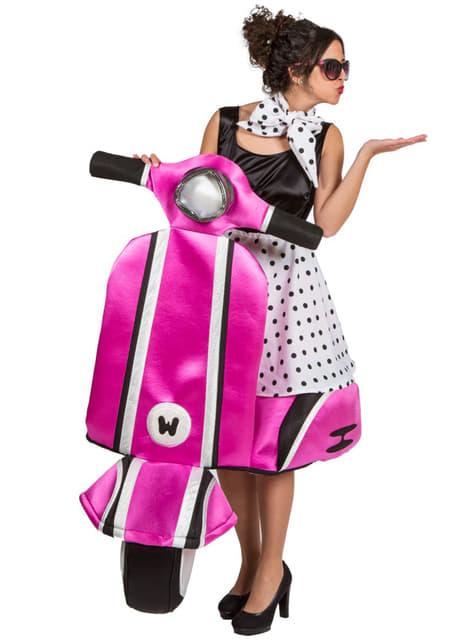 Disfraz de chica de los 50 en moto carry me