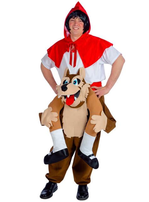 Fato de Capuchinho Vermelho e lobo feroz Ride On para adulto