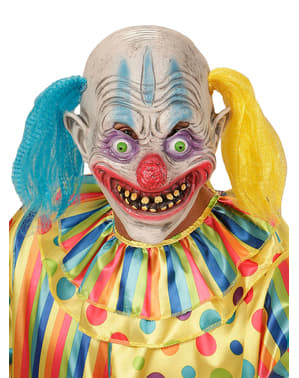 Psychotic clown with pigtails mask for adults