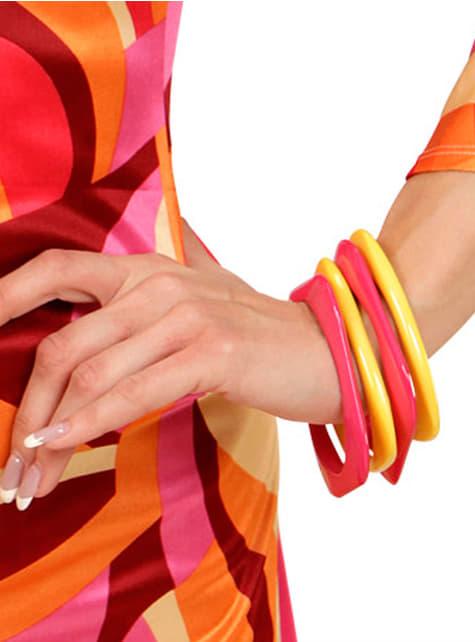 4 bracelet disco roses et jaunes femme