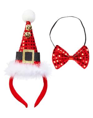 Conjunto de mini chapéu e laço Pai Natal para adulto