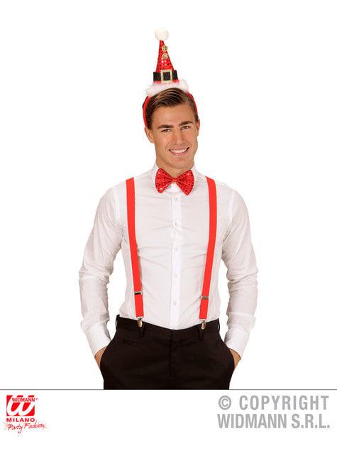 Set de mini sombrero y pajarita Papá Noel para adulto - original