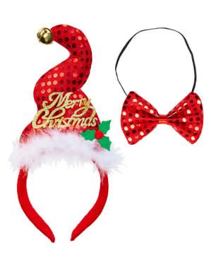 Weihnachtliches Mini Hut und Fliegen Set für Damen