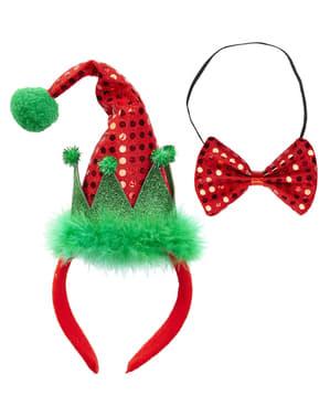 Zestaw mini kapelusz i muszka elfa dla dorosłych