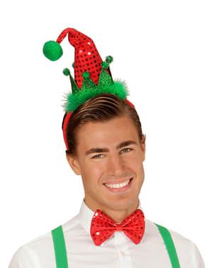 Conjunto de mini chapéu e laço de elfo para adulto