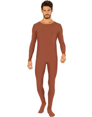 Pánský přiléhavý oblek hnědý nadměrná velikost