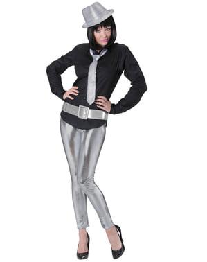 Zilveren disco riem voor volwassenen