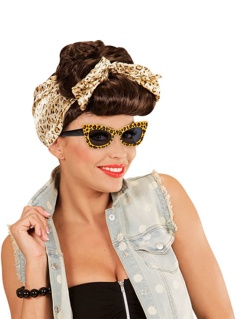 Gafas de leopardo retro para adulto