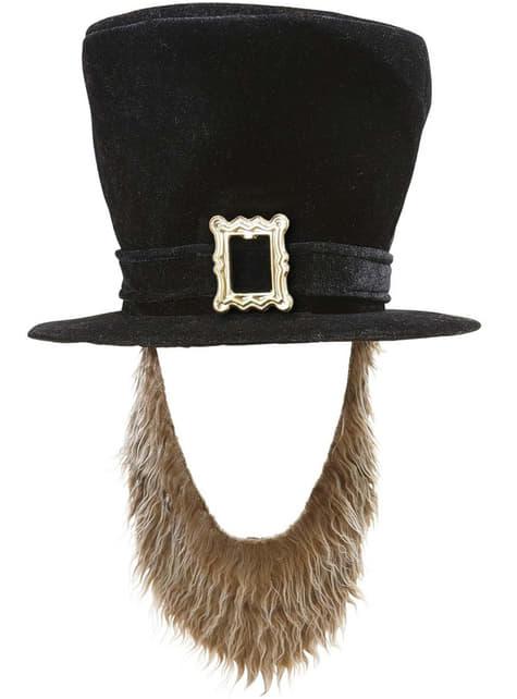 Sombrero negro con barba para hombre