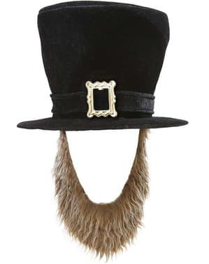Man's Black Hat with Beard