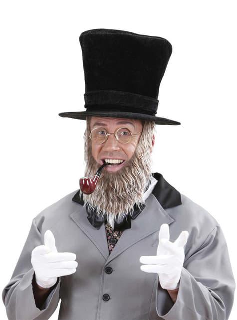 Sombrero negro con barba para hombre - para tu disfraz