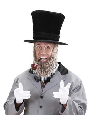 Pălărie neagră cu barbă pentru bărbat