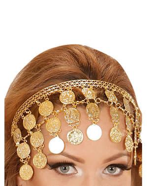 Gouden haarband met muntjes voor vrouw