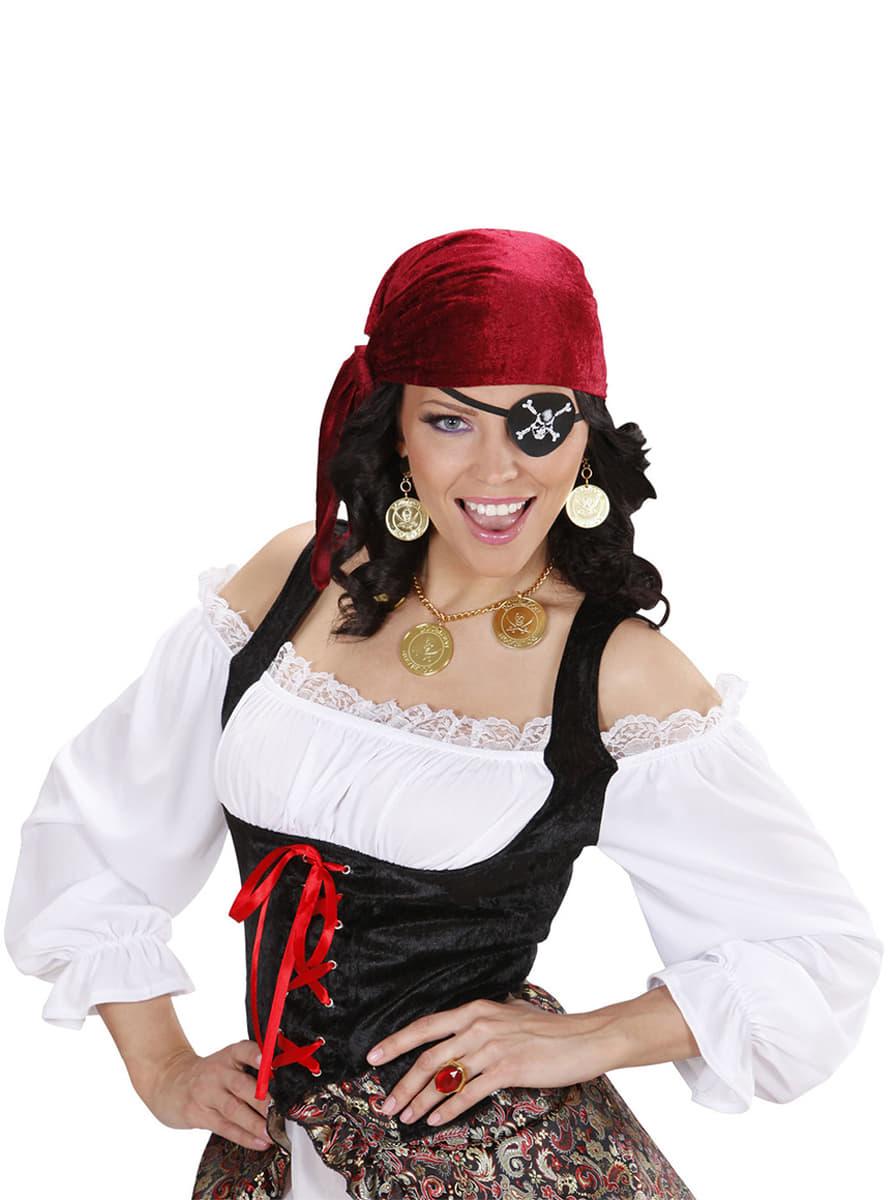 Set De Collar Y Pendientes Pirata Para Mujer Entrega Rapida Funidelia - Maquillaje-de-pirata-para-mujer