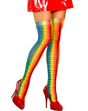 Collants hippie multicolore femme