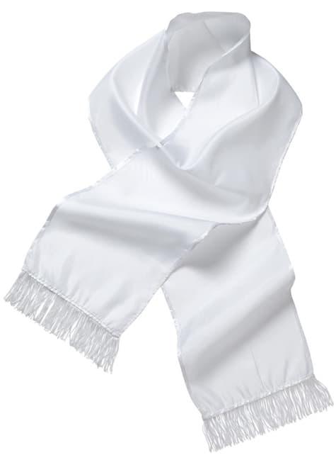 Bufanda blanca de raso para adulto