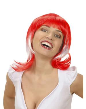Peruca bicolor vermelha e branca para mulher