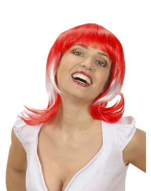 Woman's Bicolour Red and White Wig
