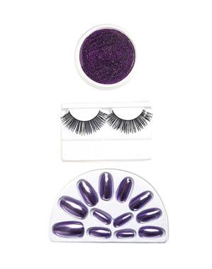 Kit de uñas maquillaje y pestañas de bruja para mujer