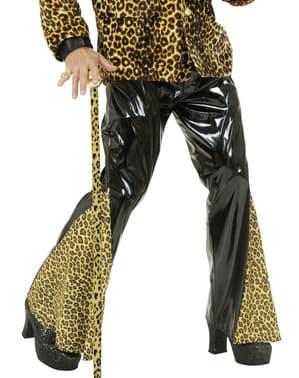 Calças à boca de sino de vinil pretas e leopardo tamanho grande