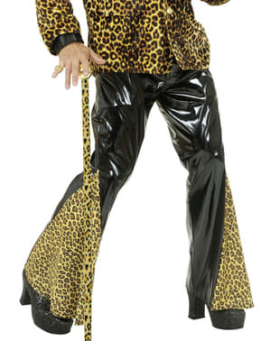 Plus Size Black Vinyl and Leopard Flared Trousers