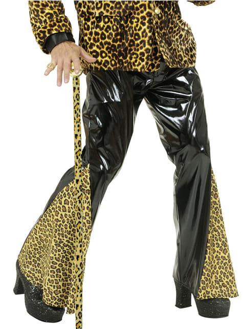 Pantalón acampanado de vinilo negro y leopardo