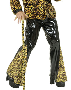 Black Vinyl and Leopard Flared Trousers