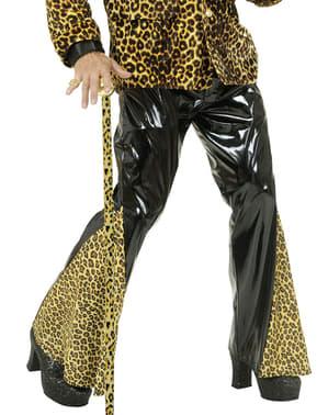 Mustat Leveälahkeiset Vinyylileopardihousut