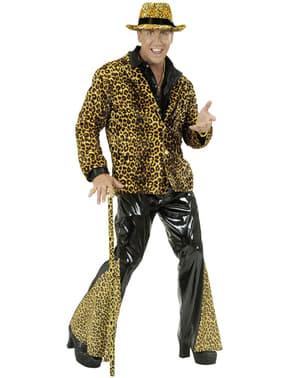 Calças à boca de sino de vinil pretas e leopardo