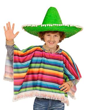 Poncho mexicano multicolor para menino