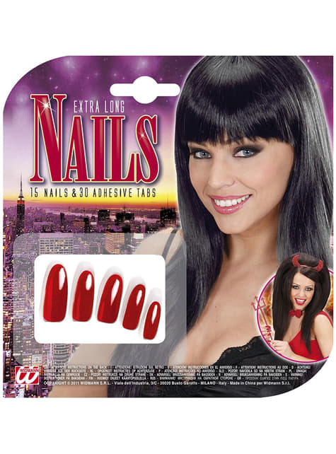 15 ongles rouges extra longs femme