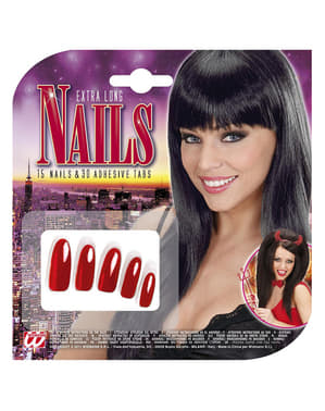 Sæt med 15 røde lange negle til kvinder