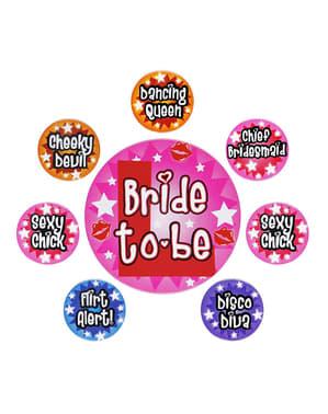 Set 8 Buttons für Junggesellenabschied