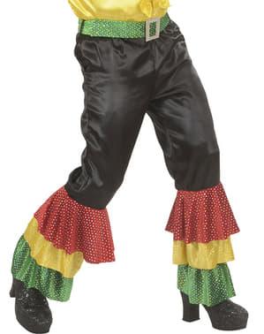 Pantalón negro de rumbero con lentejuelas para hombre talla grande