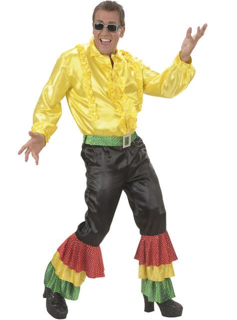 Pantalon noir danseur de rumba à paillettes homme grande taille