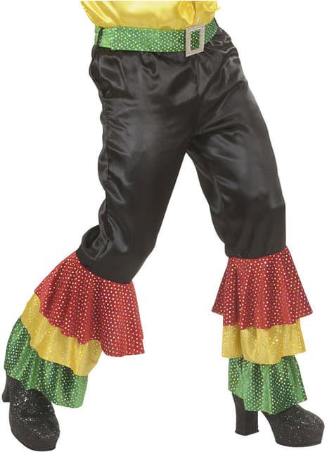 Calças pretas de festeiro com lantejoulas para homem