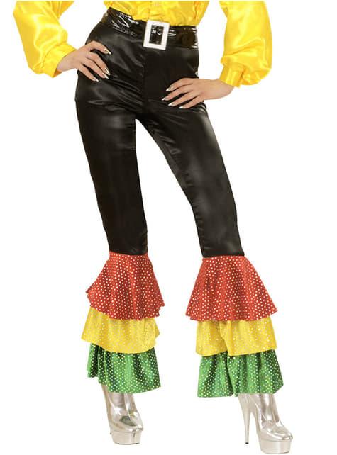 Pantalón negro de raso con lentejuelas para mujer talla grande