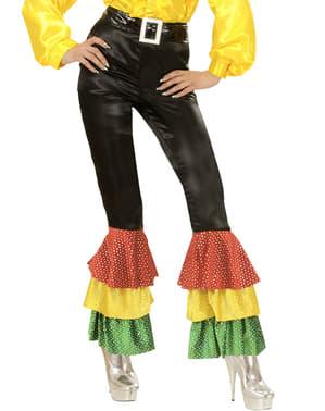 Pantaloni neri di raso con paillettes per donna taglie forti