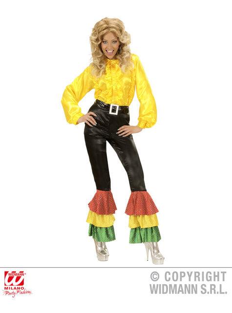 Calças pretas de cetim com lantejoulas para mulher tamanho grande