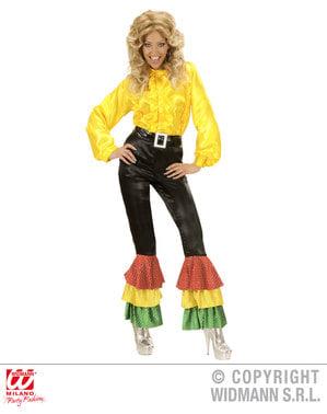 Pantaloni negri din satin cu paiete pentru femeie mărime mare