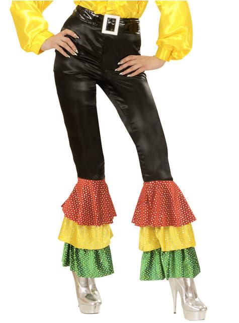 Pantalón negro de raso con lentejuelas para mujer