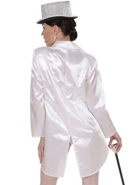 Casaco de fraque branco de cetim para mulher