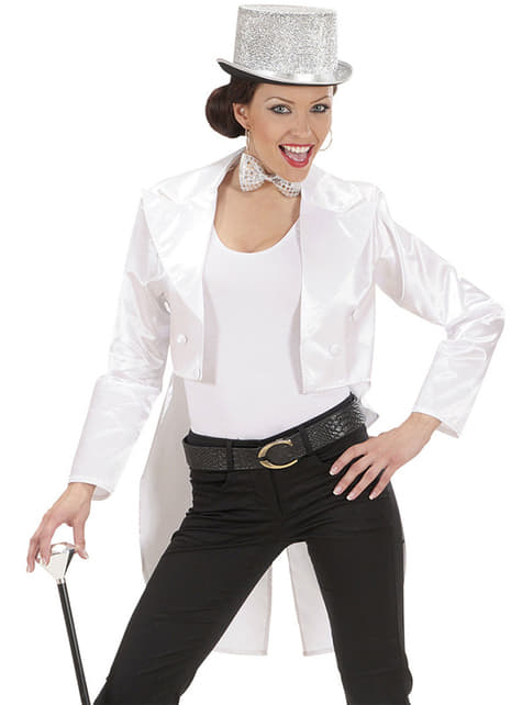 Woman's White Satin Tailcoat