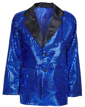 Chaqueta azul de lentejuelas años 70 talla grande